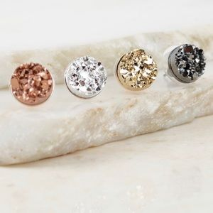 Jewelry - Round Stud Druzy Earrings in 4 Colors